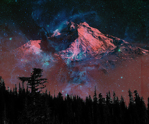 mountains, galaxy, and stars image