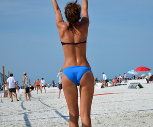 girl, summer, and volleyball image