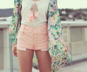 cardigan, colorful, and necklace image