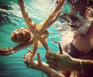 ocean, girl, and octopus image