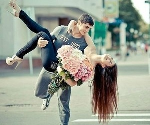 boyfriend, couple, and flower image