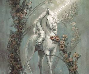 unicorn, art, and butterfly image