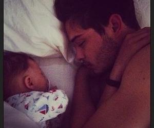 baby, sleep, and daddy image