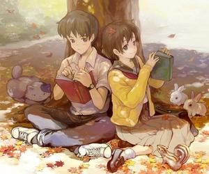 anime, cat, and rabbit image