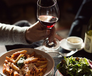 food, wine, and pasta image