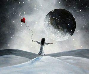 girl, snow, and moon image
