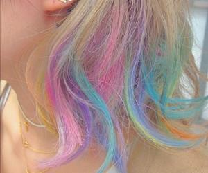 hair, rainbow, and pastel image