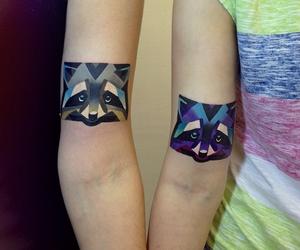 tattoo, animal, and raccoon image