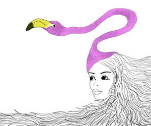 flamingo, girl, and hair image