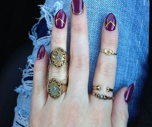 nails, rings, and hand image