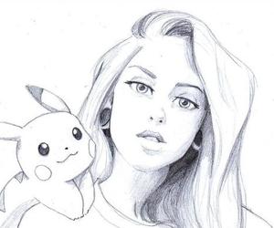 drawing, girl, and пикачу image