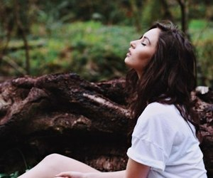girl, wood, and nature image