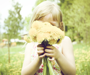 child, flowers, and green image