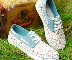 shoes, vans, and flowers image