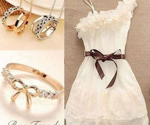 dress, white, and beautiful image