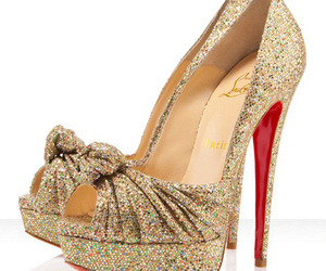 christian louboutin and gold women's pumps image