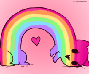 cute, cat, and rainbow image