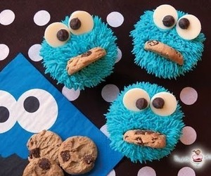 funny, blue, and cookie image