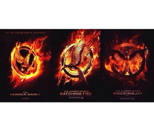 the hunger games, catching fire, and mockinjay image