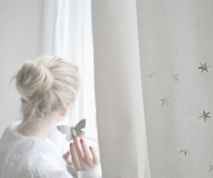 girl, butterfly, and white image