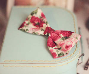 bow, flowers, and pink image
