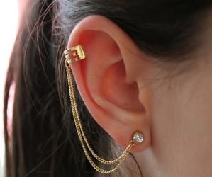 earrings, gold, and ear image