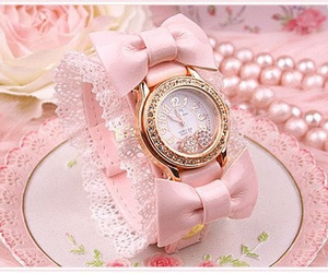 pink, watch, and girly image