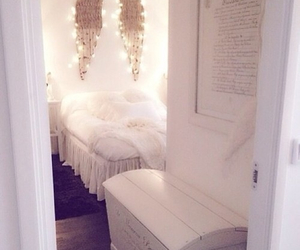 bedroom, white, and wings image