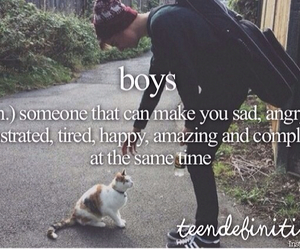 boy, saying, and cat image