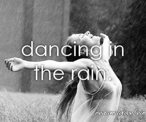 black and white, dancing, and rain image