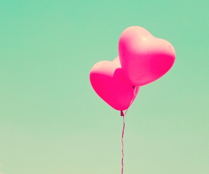 balloons, pink, and heart image