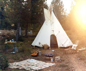camping, guitar, and teepee image