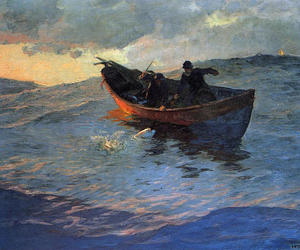 boat, painting, and willard metcalf image