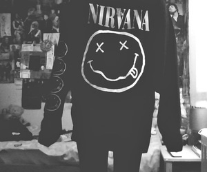 nirvana, black and white, and grunge image