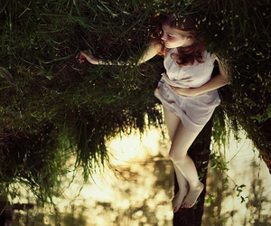 girl, nature, and upside down image