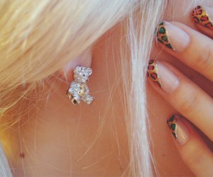 nails, bear, and earrings image