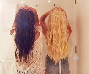 blond hair and friend image
