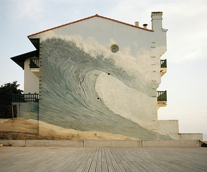 art, house, and waves image