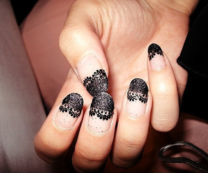 nails, lace, and black image