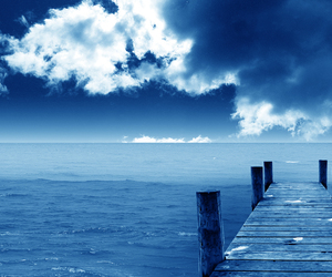 blue, sea, and clouds image