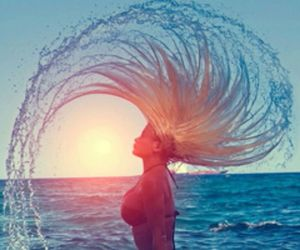 beach, water, and hair image