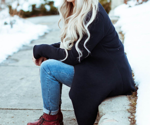 beanie, blonde, and clothes image