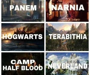 narnia, hogwarts, and panem image
