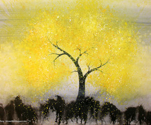 art, paint, and yellow image