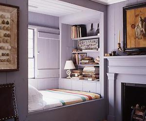 bed, gray, and lavender image