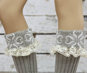 lace socks, legwarmers, and button leg warmers image