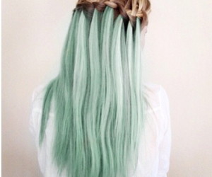 hair, green, and braid image