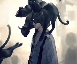 cat, anime, and art image