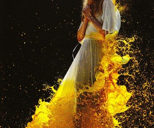 yellow, model, and paint image