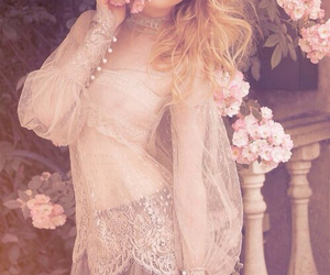 flowers, pink, and lace image